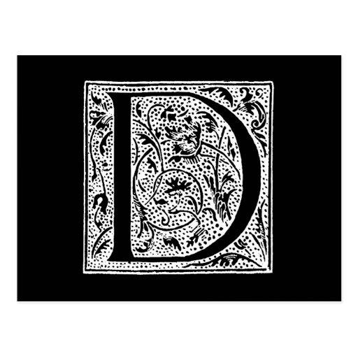 """Vintages Monogramm-Schwarz-weiße """"d-"""" Initialen Postkarte"""