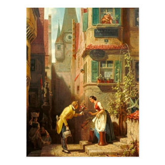 Vintages Motiv - ewiges Verlobte - Spitzweg Postkarte