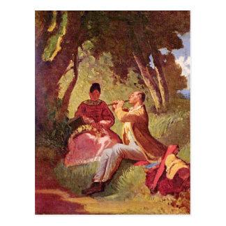 Vintages Motiv - Flötenkonzert - Spitzweg Postkarte