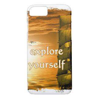 Vintages motivierend Zitat der Weltkarte iPhone 8/7 Hülle