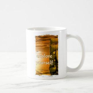 Vintages motivierend Zitat der Weltkarte Kaffeetasse