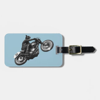 Vintages Motorrad der lustigen Katze Kofferanhänger