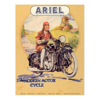 Vintages Motorrad-Plakat Postkarte