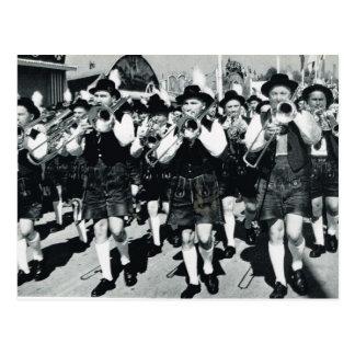 Vintages München, Oktoberfest, marschierendes Band Postkarten