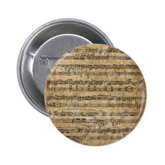 Vintages Musik-Blatt Anstecknadelbuttons