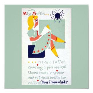 Vintages Mutter-Gans-Kinderzimmer-Reim-Fräulein Quadratische 13,3 Cm Einladungskarte