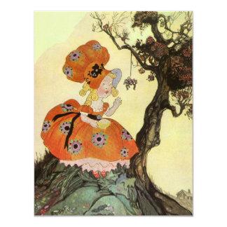 Vintages Mutter-Gans-Kinderzimmer-Reim-Gedicht 10,8 X 14 Cm Einladungskarte