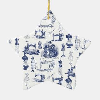 Vintages nähendes Toile Keramik Ornament