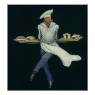 Vintages Nahrungsmittelgeschäft, Bäcker mit Poster