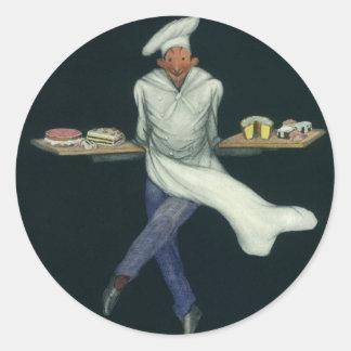 Vintages Nahrungsmittelgeschäft, Bäcker mit Runder Aufkleber