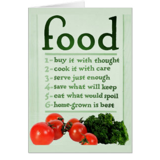 Vintages Nahrungsmittelplakat Karte