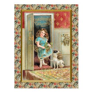 Vintages niedliches Kinderfreundschafts-Angebot Postkarte