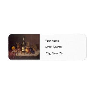 Vintages noch Leben-Malerei-Adressen-Etikett Rücksendeetikett