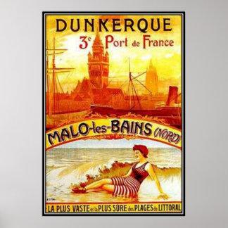 Vintages Nord-Pas-De-Calais, Dünkirchen, Frankreic Plakatdruck