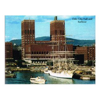 Vintages Norwegen, Oslo-Stadt CHall und Hafen Postkarte