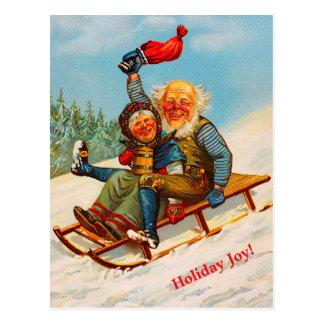 Vintages norwegisches Weihnachtspaare Sledding Postkarte