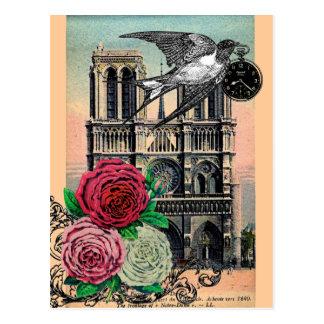 Vintages Notre Dame, Schwalbe, Rosen, Collage Postkarte