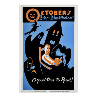 """Vintages Oktobers """"helles blaues Wetter"""" WPA Plakat"""
