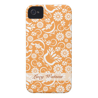 Vintages orange BlumenBlackBerry-mutiger Kasten iPhone 4 Case-Mate Hüllen