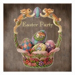 Vintages Osterhasen-u. Ei-Ostern-Party Personalisierte Einladung