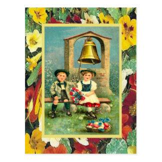 Vintages Ostern, bayerische Kinder und Eier Postkarte