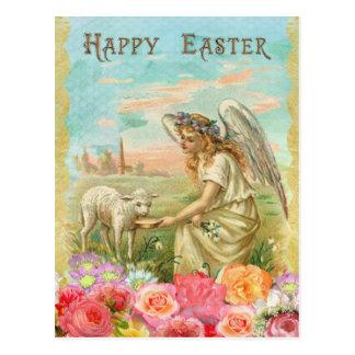 Vintages Ostern. Engel und Lamm Postkarte