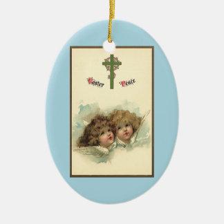 Vintages Ostern, himmlische Engels-Wolken im Keramik Ornament