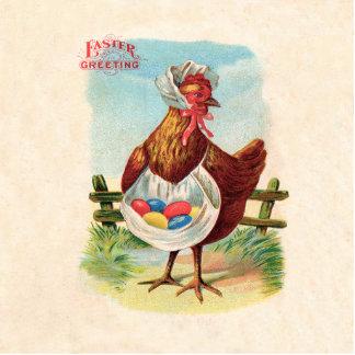 Vintages Ostern-Huhn und Ostereier Freistehende Fotoskulptur