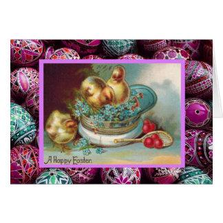 Vintages Ostern, Küken in einem Hut Karte
