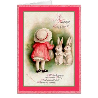 Vintages Ostern-Mädchen und weiße Häschen Karte