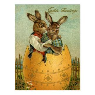 Vintages Ostern, viktorianische Häschen in einem Postkarten