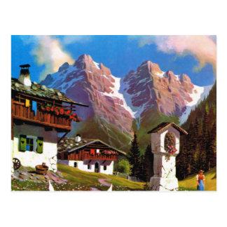 Vintages Österreich, Bildstock, Tiroler Dorf Postkarte