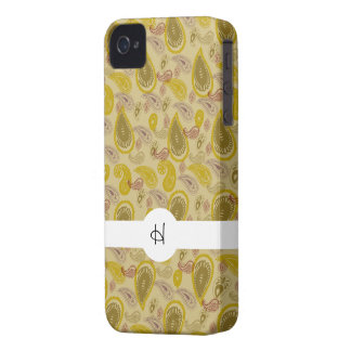 Vintages Paisley-Druck-Gold Brown iPhone 4 Cover