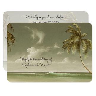 Vintages Palme-Strand-Hochzeits-Menü UAWG 8,9 X 12,7 Cm Einladungskarte