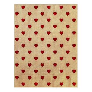 Vintages Papierpolka-Herz-Muster Postkarten