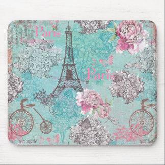 Vintages Paris-Eiffeltower Blumen-Fahrrad Mauspads