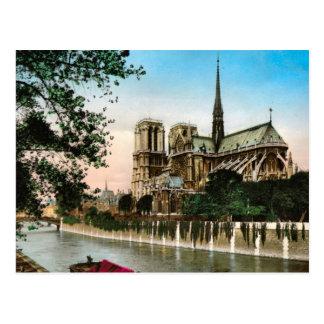 Vintages Paris-, Fluss- die Seine und Ilede Notre Postkarte