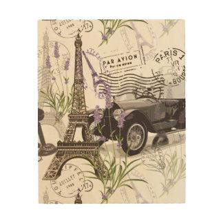 Vintages Paris Holzleinwand