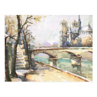 Vintages Paris, Notre Dame, La die Seine Postkarte