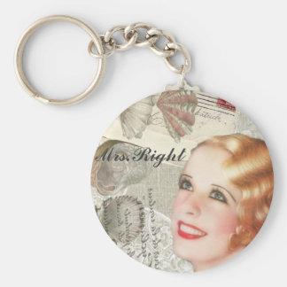 Vintages Paris-Shabby Chic retro Frau Right Standard Runder Schlüsselanhänger