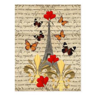 Vintages Paris u. Schmetterlinge Postkarte