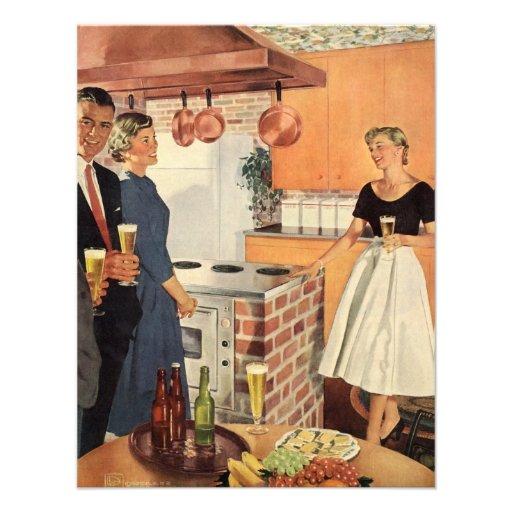 Vintages Party in der Küche, im Bier und in den Einladung