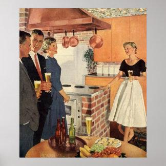 Vintages Party in der Küche, im Bier und in den Poster