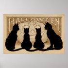 Vintages Partydekorplakat schwarzer Katzen Poster