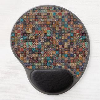 Vintages Patchwork mit Blumenmandalaelementen Gel Mousepad