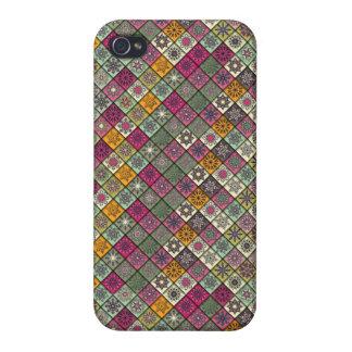 Vintages Patchwork mit Blumenmandalaelementen iPhone 4/4S Cover