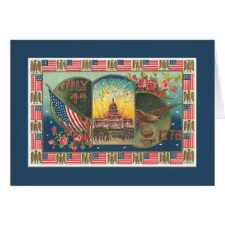 Vintages patriotisches 4. von Juli-Karte Grußkarte