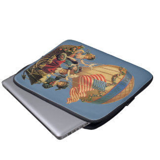 Vintages patriotisches, Kinder in einem Laptop Sleeve