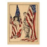 Vintages patriotisches Mädchen u. Junge mit amerik Postkarten
