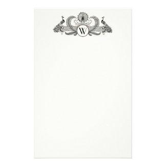Vintages Pfau-Monogramm-Elfenbein BG Briefpapier